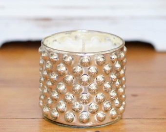 Natural Soy Wax Candle in Silver Bubbled Glassware