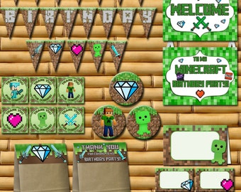 70% OFF SALE Minecraft inspired Birthday Party Kit, Minecraft Birthday Party Package,  Minecraft Party Decorations - Instant Download