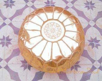 """Moroccan pouf Handcrafted-Moroccan-Leather-Pouf-Ottoman-Footstool Hassock Gold pouffe size(21""""X14"""")When stuffed"""
