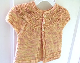 Knitted Baby Girl Cardigan, Baby Cardigan, Toddler Cardigan, Baby Girl Sweater, Yellow Baby Sweater, Handmade Baby Gift, Baby Clothes