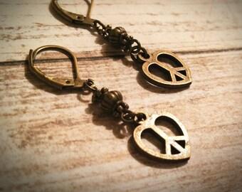 Peace Sign Earrings / Heart Earrings / Vintage Earrings / Peace Earrings / Bronze Earrings