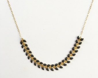 Mother's Day Gift, Gold and Black Necklace, Gift for Mom, Mom Gift, Statement Necklace, Leaves Necklace, Trendy Necklace, Delicate Necklace