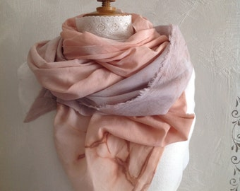 Cheche-scarf-pink Parma gradient/vegetable dye on cotton voile.
