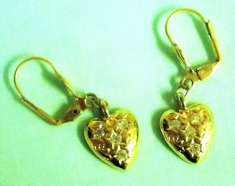 Vintage Trifari Gold Tone Heart Pierced Earrings