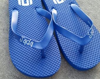 Monogrammed flip flops