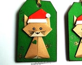 Origami Christmas Gift Tag,Set of 5,origami Cat Santa Tags and cards unique tags, origami animal tags and cards