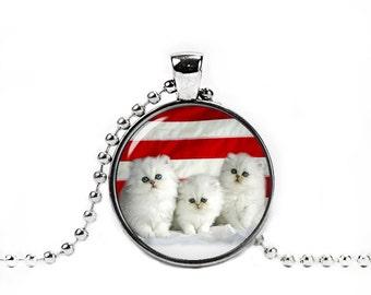 White Kittens Round Pendant Cat Necklace White Cat Jewelry Cat Glass Pendant