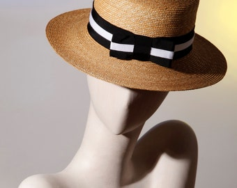 Boater Hat straw natural and black & White Ribbon