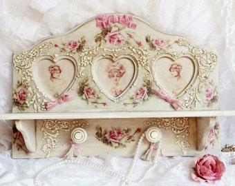 Shabby shelf, display shelf, shabby chic decor, white shelf with roses, wall shelf, bathroom shelf, Victorian,  cottage chic, Belle epoque