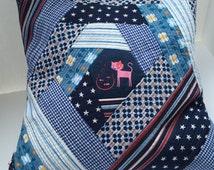 Pillow patchwork quilted Blue Cat motif