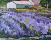 "Lavender Farm, Bucks County landscape, 11"" x 14"" original oil painting on canvas, FREE SHIPPING, purples"