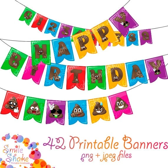 Emoji Printable Happy Birthday Banner Templates Colorful Images