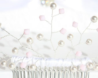 Swarovski Crystal and Pearl bridal hair comb, ( Silver Rose Quartz blush wedding bride bridesmaid)