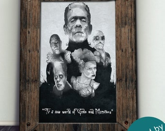 Universal classic Monsters - Limited Art Print - Signed By Artist