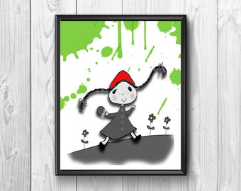 Red Riding Hood, Little Red Riding Hood print, wall posters, red print