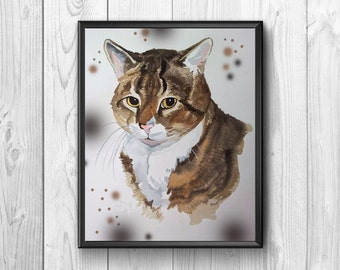 Cute cat original, executed inwatercolor.Poster suited to the children's room