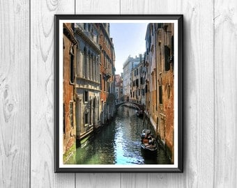 Venice, Italy. Channel with typical gondola