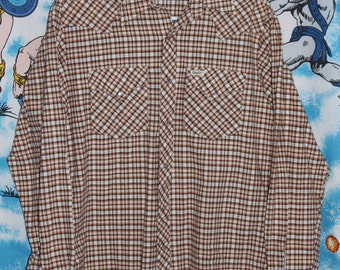 Vintage 80's GWG Western Pearl Snap Plaid Rockabilly Shirt