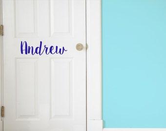 Custom Name Vinyl Door Decal