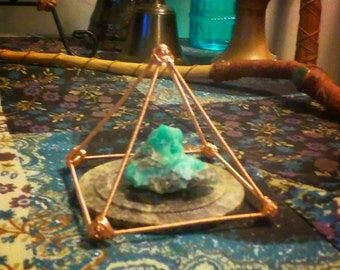 Copper Pyramid/ Crystal Charging Pyramid/ Meditation Pyramid/ Ornate Copper