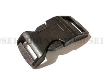"30 PCS Plastic Contoured Side Release Buckle Pet Collar Hardware 25mm 1"" | Black"