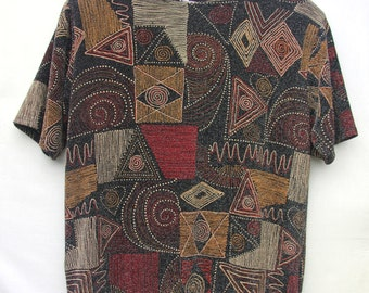 Vintage 1980's Metallic Abstract Print Textured T-shirt