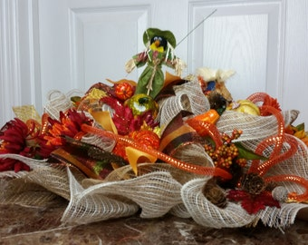 Inventory Sale, Fall/Thanksgiving Scarecrow Centerpiece Deco Mesh Wreath