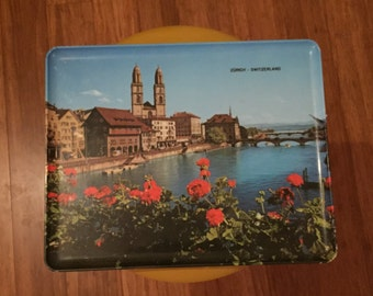 Vintage Serving Tray / Dinner Tray - Photo of Canal at Zurich, SWITZERLAND 1970s / Retro tray