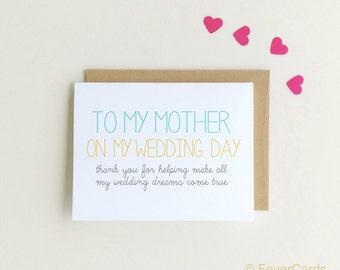 To my Mother on my Wedding day | Note to Mom| Wedding Day Note | Thank You Card for Wedding Day| Thank you Mom | Wedding Cards {SKU: FC148}