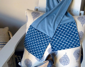 Light Blue Block Print Cotton & Jersey Scarf