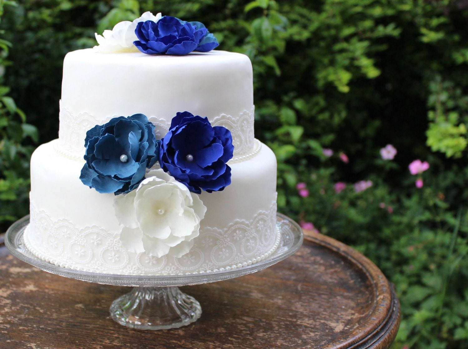 Blue & White Vintage Lace Wedding Cake Flower Topper Set