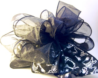 Skeleton Halloween Duo Ribbon Bow, Sheer Glitter Black, Decor/Present Bow