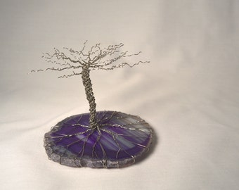 Wire Tree Sculpture on Agate