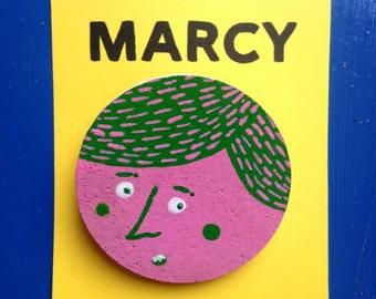 Hand painted cork pink green badge brooch - illustration bright vagina badge - Marcy