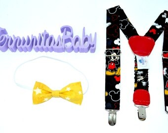 Boy Suspenders and Bowtie Mickey Mouse, Baby Suspenders and Bowtie Mickey Mouse