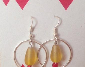 Yellow Beaded Wire Earrings, Wire Hoop Earrings, Yellow and Red Glass Beaded Earrings, Unique Earrings