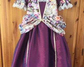 Girls Princess Dress * Dress up * Fun Party Dress * Purple Floral Print * Handmade in England