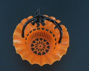 Vintage Orange Halloween Nut and Candy Cup Basket with Black Witch Riding a Broomstick Handle