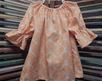 Girls peasant fall dress, Toddler dress,  Peach and white girls dress, Size 2 girls dress, Toddler girls peasant dress, #96