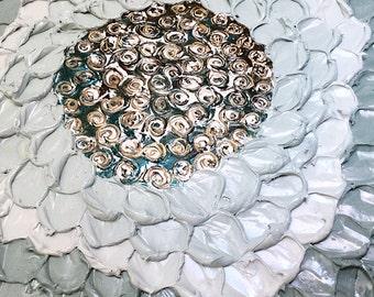 Original deep texture art green flower painting 24x24