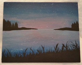 8x10 Lake at Twilight Painting on Canvas Board