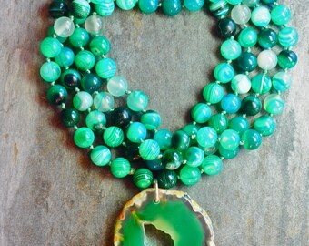 In green agate necklace