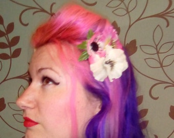Pink and white pansy and anemone vintage style hair flower