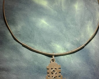 Silver ethnic african Ethiopian amulet cross coptic tribal chocker ring necklace vintage traditional berber rare axum eastern handmade