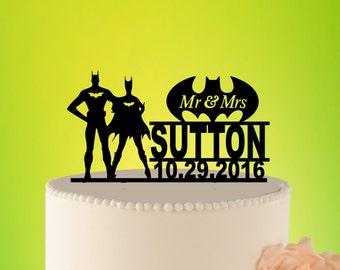 Romantic Wedding Cake Topper, Batman cake topper, Batman Wedding cake topper, SUPERHERO Wedding Topper, Mr Mrs Batman L2-01-025