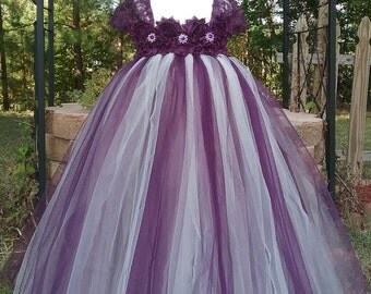 Free Shipping  to USA Custom Made Cap Sleeve Eggplant and Champagne  Tutu Dress-Egggplant Flower Girls Available in Sizes NB- 14 years old