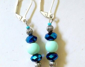 light teal and sparkly navy earrings