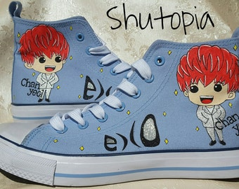 Hand painted KPOP EXO canvas hi top shoes