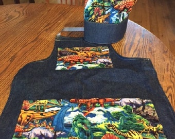 Chef apron and hat for boys! Dinosaurs, Monsters or Super Hero Sayings