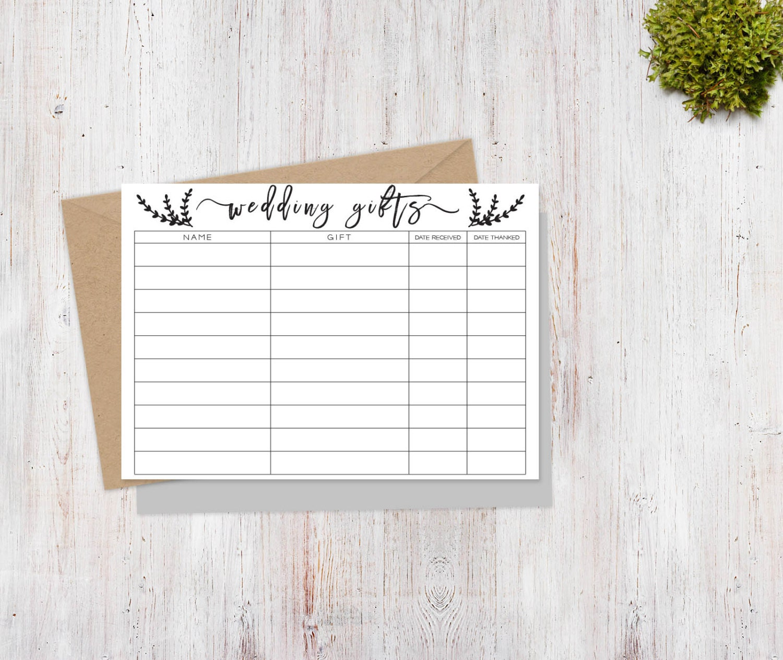 wedding gift tracker sheet printable  wedding thank you gift